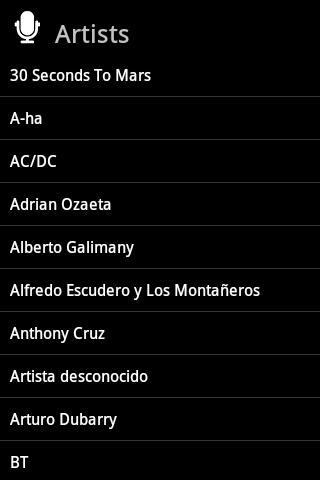 Lista de artistas en Banshee Remote